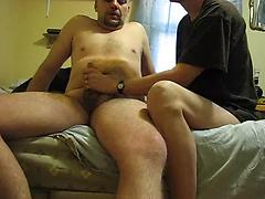 Finishing hubby off with a handjob