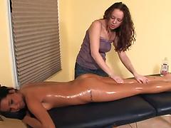 Lesbian Oil Massage - With a Oops (Fart Slip)