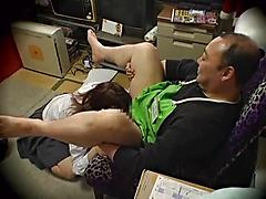 Asian Girl Gets Busy In The Back Room On Old Cock