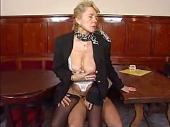 Blonde Babe Bends Over To Get Her Ass Rubbed By Stud