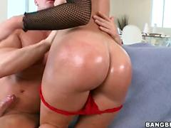 This Babe In Fish Nets Strips Down And Takes It In The Ass