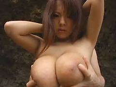 Asian Girl With Huge Tits Fucks Two Dudes On The Beach