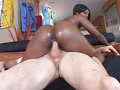 Busty Black Chick Takes On A White Pipe