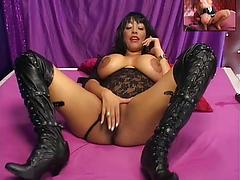 Busty Ebony Makes Good Use Of Her Fingers And Dildo