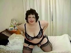 Mature Bbw Striptease In Lingerie Masturbates