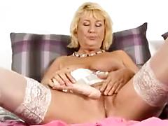 Sexy Granny Shows Off Her Freshly Shaved Cunt