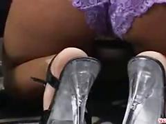 Blonde chick does black anal