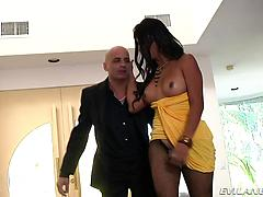 Scorching transgender princess gets her manstick throated firm, then fingers her booty.