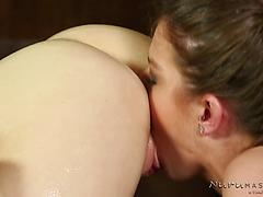 Frustrated molten wifey makes lezzie nuru fuck-fest tape with towheaded