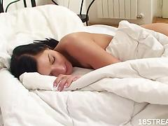 Stunning brunette Helena deepthroats a guy and gets pounded