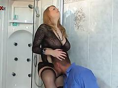 Impressive housewife with big tits fucks like insane
