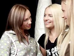 Nasty lesbian girlfriends invite a third girl to a hot threesome play