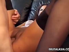 Slender Asian cutie in black stockings bounces on cock and moans