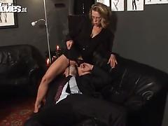 Gorgeous mature mistress comes to torture her submissive lover