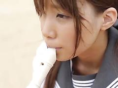 Spicy Japanese girl blows dick and gets pussy plowed outdoors
